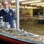 Gold medal winning model of HMS Warspite at Devonport Naval Heritage Centre