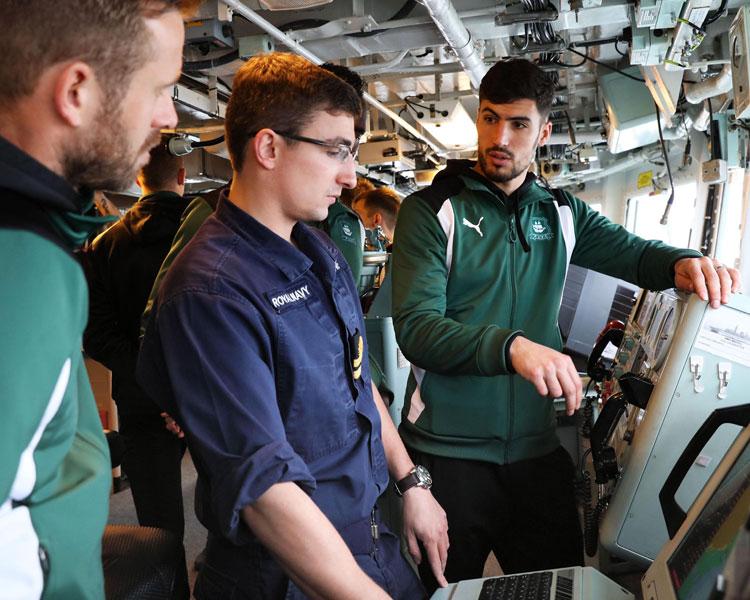 PAFC players shown HMS Argyll bridge