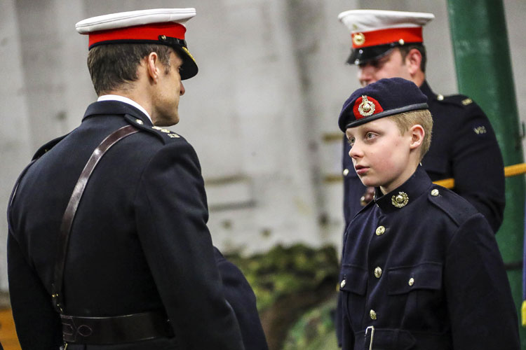 Lt Col Nik Cavill inspects RM Cadets