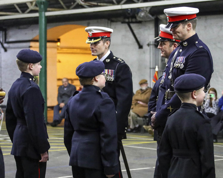 Lt Col Nik Cavill and WO Liam Douthwaite inspect RM Cadets