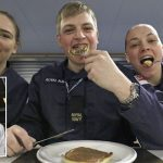 Royal Navy amphibious warship HMS Albion serves up pancakes