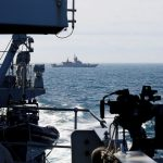HMS Sutherland escorts two Russian warships past UK coastline