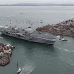 HMS Queen Elizabeth sailed into her home port of Portsmouth for the first time
