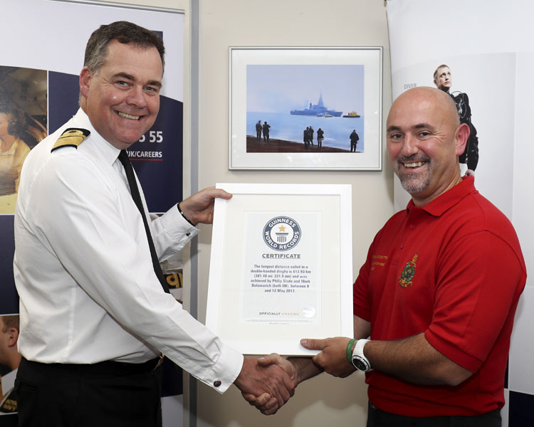 Admiral John Clink presents world record to Mark Belamarich
