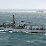 HMS Westminster escorts Russian warships through English Channel