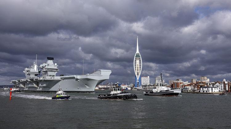 HMS Queen Elizabeth sails for aircraft trials