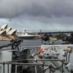 Royal Navy frigate HMS Sutherland sails into Sydney Harbour
