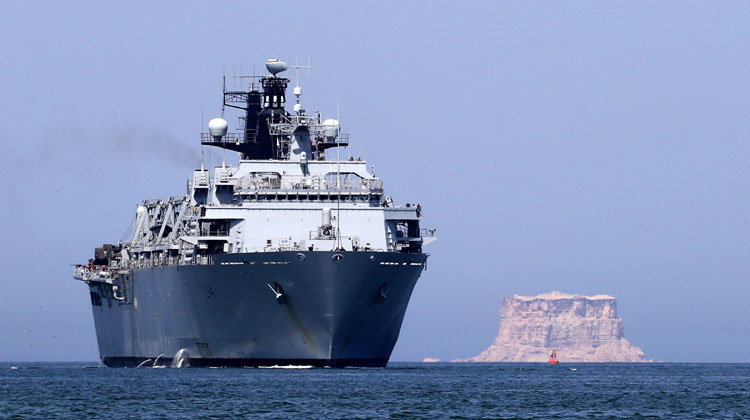 Britain's flagship HMS Albion has arrived in Oman