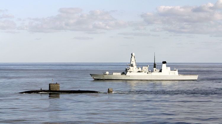 HMS Diamond joins submarine to safeguard skies and seas of the Mediterranean