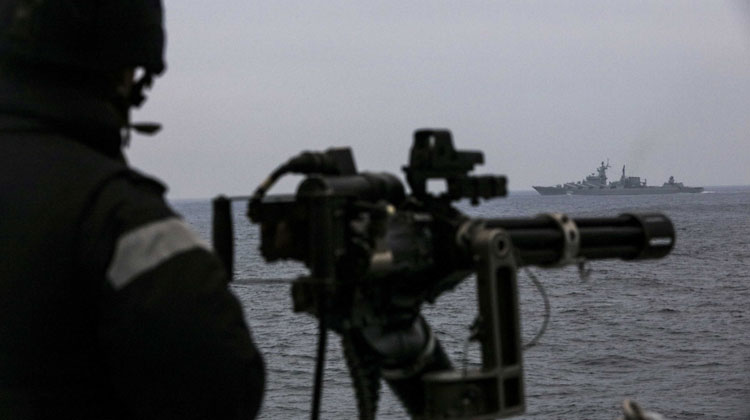 HMS St Albans shadowing Russian Slava-class cruiser Marshall Ustinov