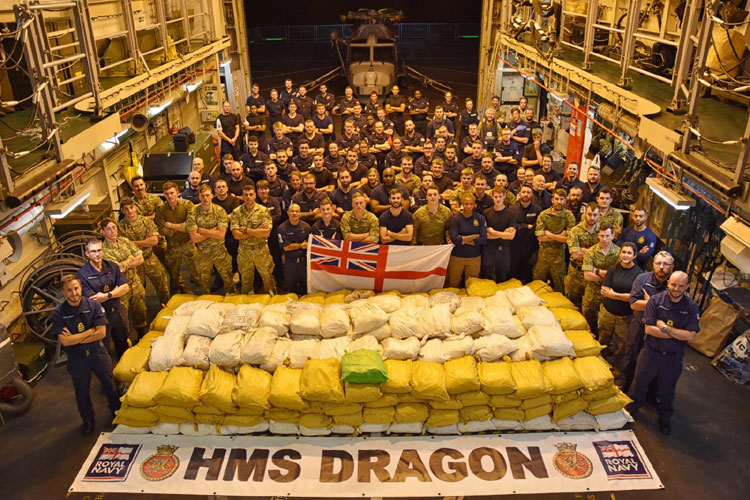 HMS Dragon seizes £75m of narcotics in double Gulf drugs bust