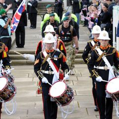 Royal Marines beginning a million-pound charity march from Plymouth