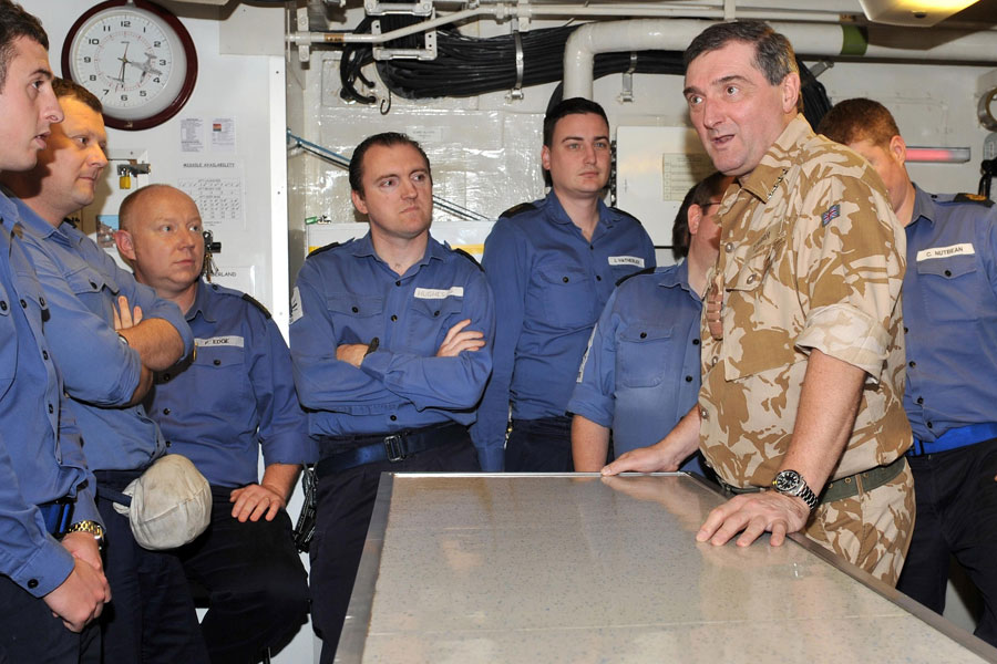 Admiral Sir Trevor Soar visits HMS Cumberland in Arabian Gulf