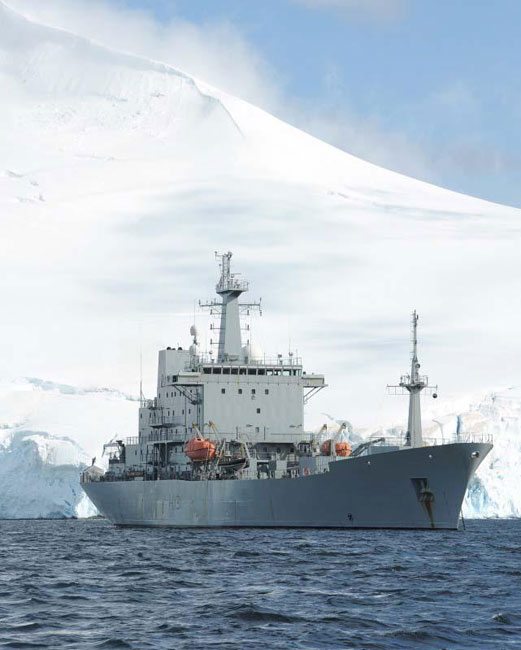 Royal Navy survey ship HMS Scott on Ice Patrol