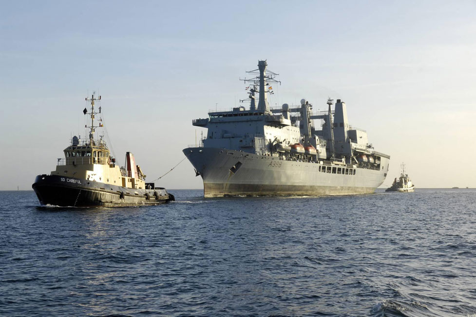 Final entry to Plymouth of RFA Fort George
