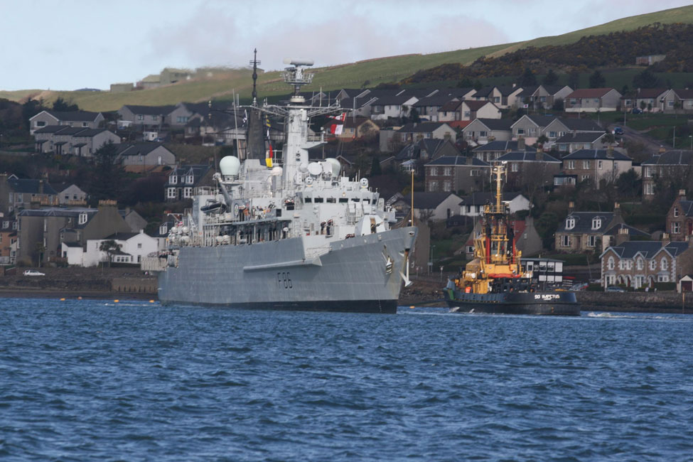 HMS Campbeltown leaves Campbeltown for the final time