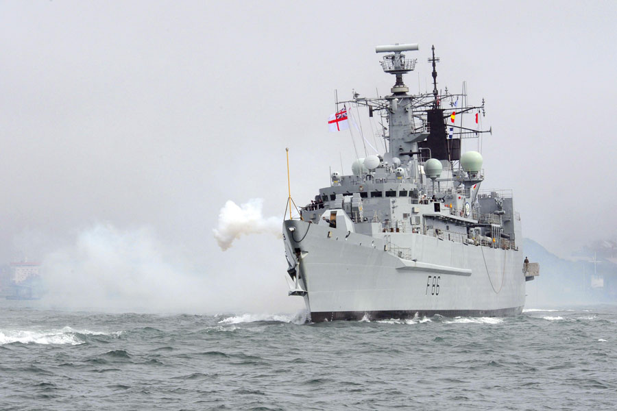 HMS Campbeltown final entry gun salute