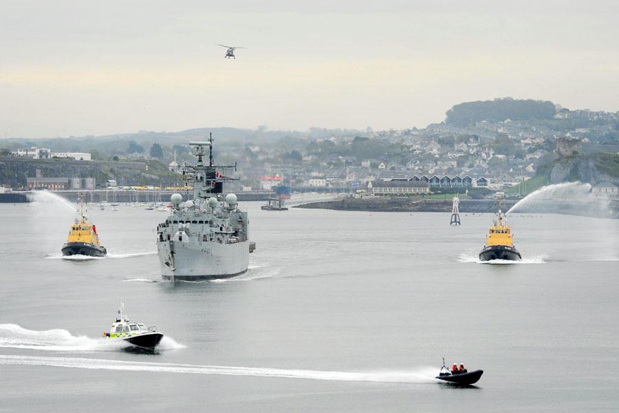 HMS Cumberland. Devonport final entry 16 April 2011