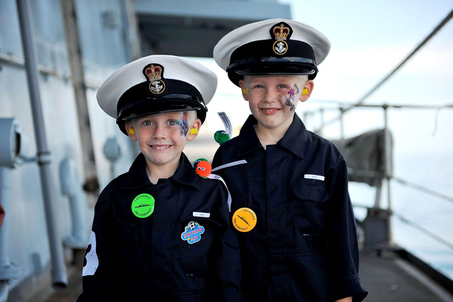 HMS Somerset pre-deployment family day at sea