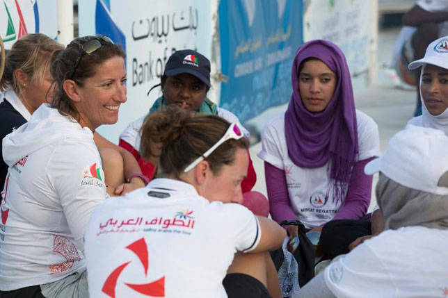 Dee Caffari with Omani sailor Raya Al Habsi (blue cap) will join Sidney Gavignet's team on Oman Air-Musandam