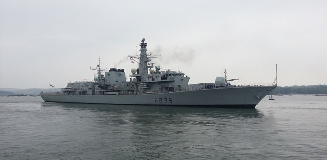 HMS Monmouth leaving Devonport