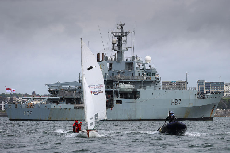 Dinghy Challenge start and HMS Echo
