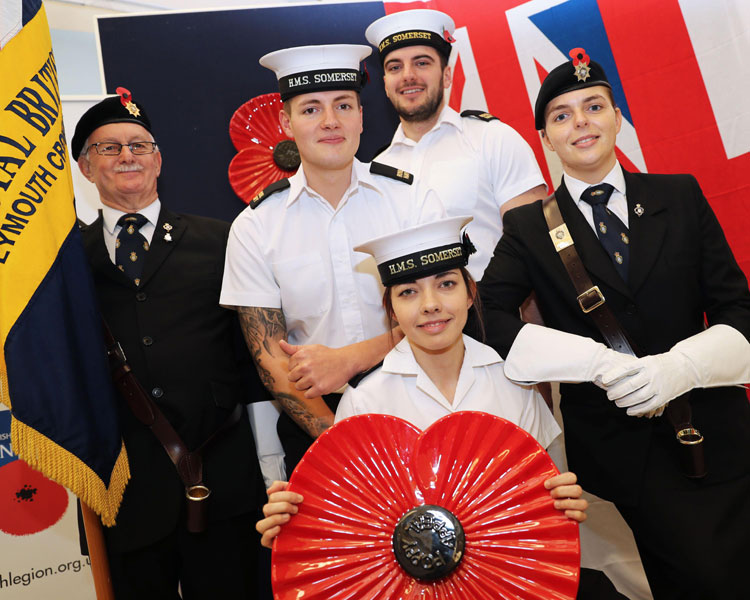 HMS Somerset RBL and veteran marks Devon launch of Poppy Appeal in Devonport Naval Base