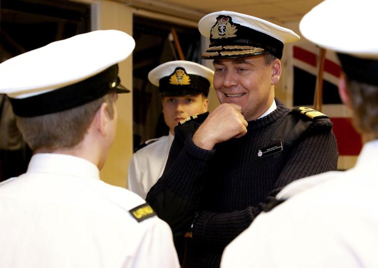 Admiral John Clink inspects Devon students