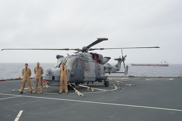 HMS Monmouth Wildcat helicopter