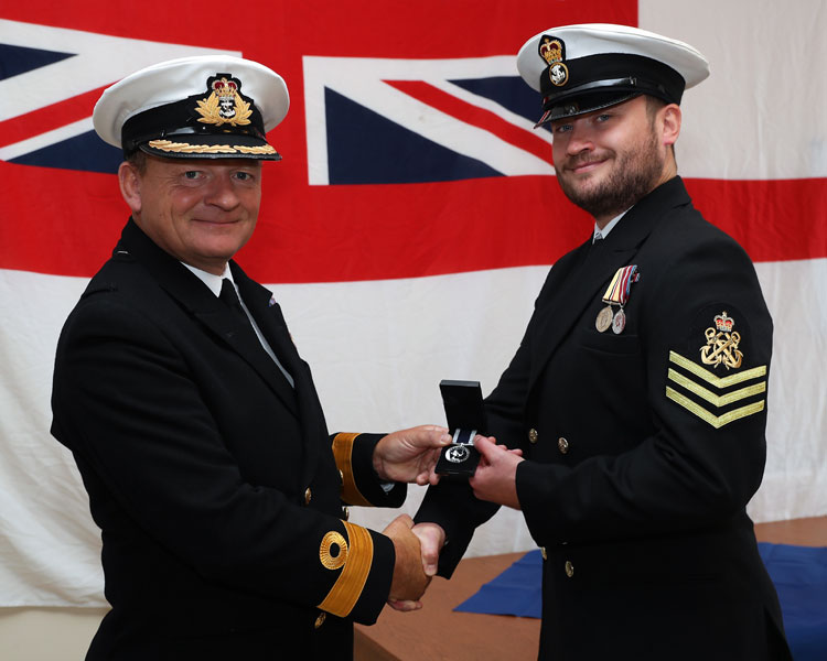 Commodore Rob Bellfield and Petty Officer James Oakley