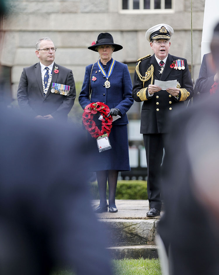 Sarah Lopes, Devon RBL President and Admiral Mark Stanhope Devon Deputy Lord Lt