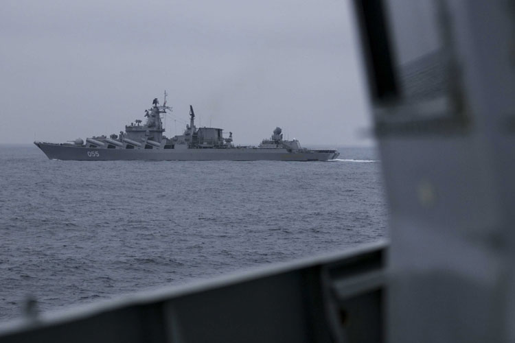 HMS St Albans shadowing Russian Slava-class cruiser Marshall Ustinov