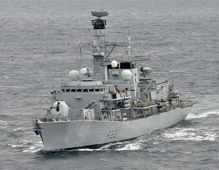 HMS Argyll rescues all 27 crew from blazing ship in Bay of Biscay