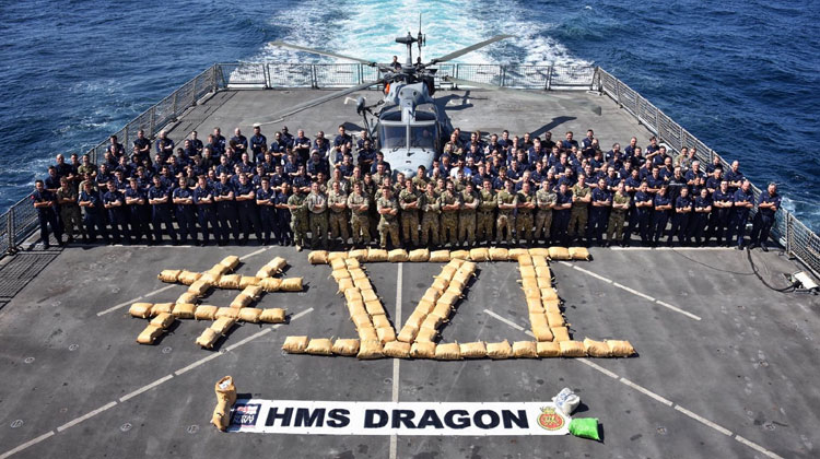 Destroyer HMS Dragon deals another blow to terrorists with sixth Middle East drugs bust