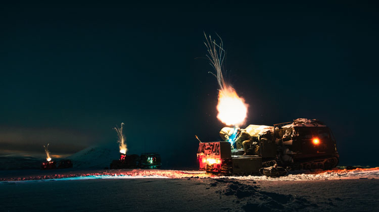 Royal Marine mortars light up Arctic night sky on exercise in Norway