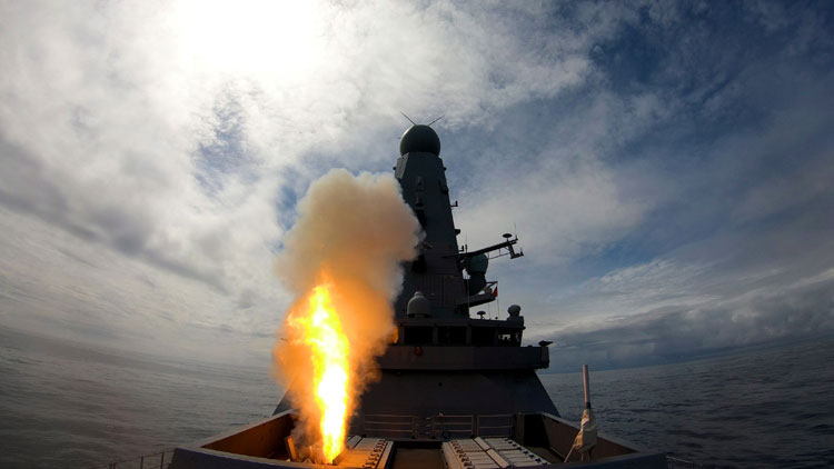 Royal Navy warship HMS Defender demonstrates her power with missile firing