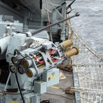 HMS Sutherland fired four new Martlet missiles at a fast-moving speedboat off the Welsh