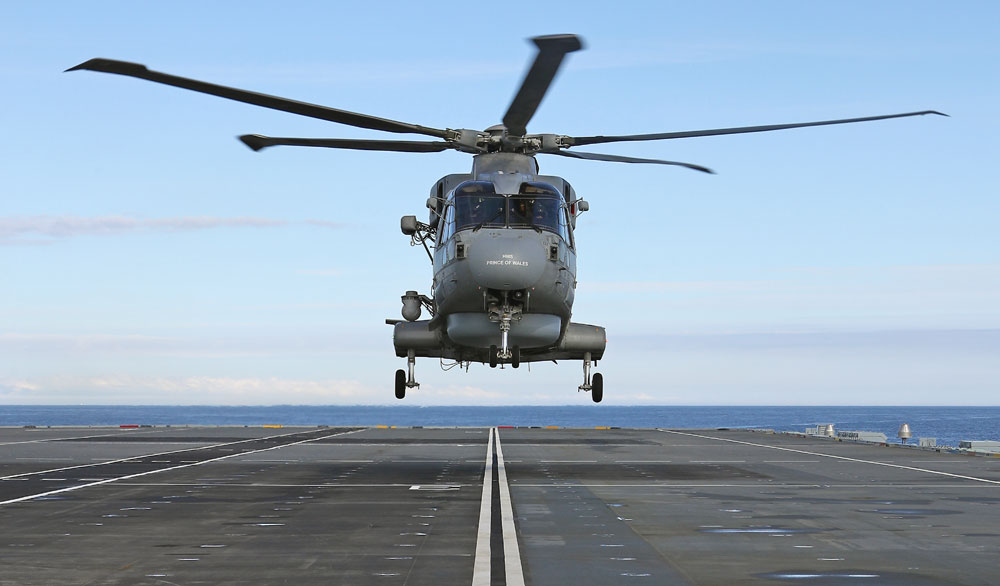 The first aircraft touch down on the deck of HMS Prince of Wales off the Scottish coast