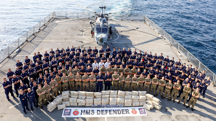 Royal Navy warship HMS Defender makes second Gulf drugs bust