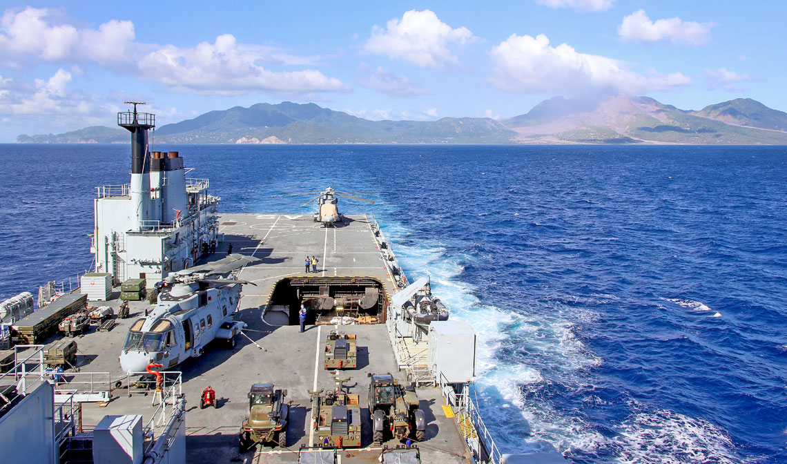 The Royal Navy's Caribbean task group has joined forces in Montserrat for the first time as it prepares for the impending hurricane season
