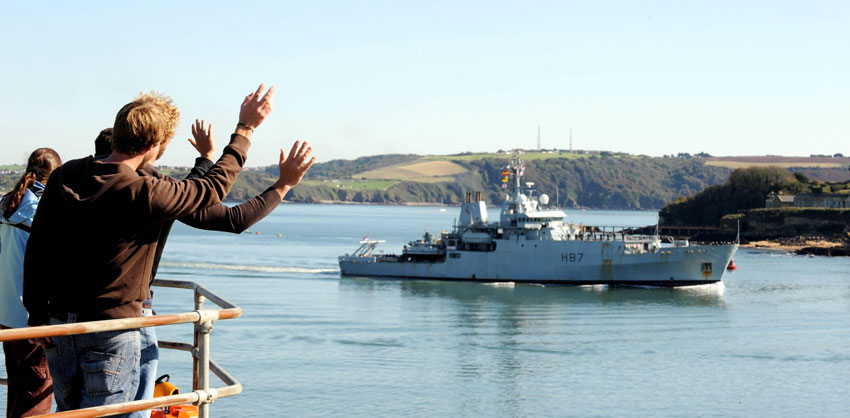 Survey vessel HMS Echo arrived home in Plymouth
