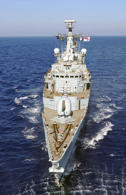 HMS Cornwall home from NATO duties in the gulf of Aden
