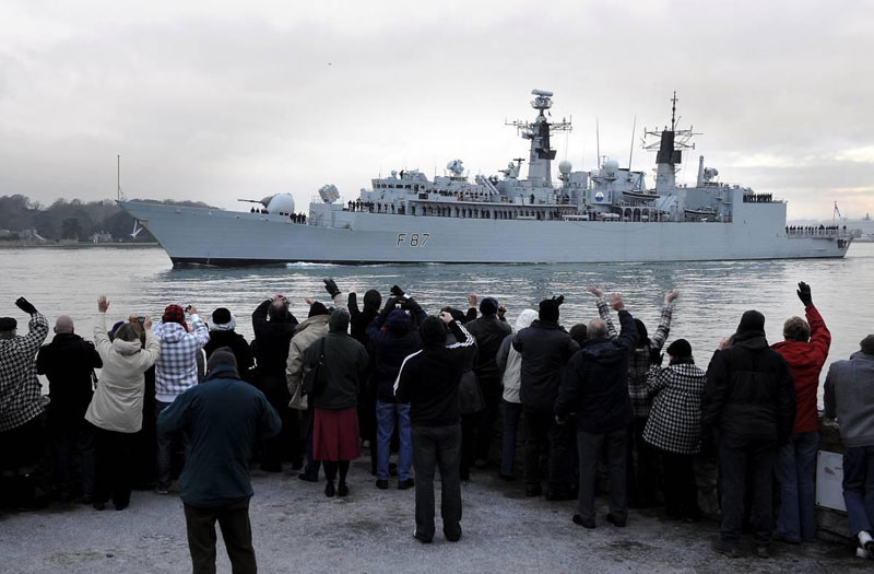 Royal Navy warship HMS Chatham deploys on anti-piracy operations