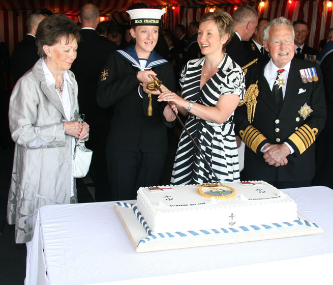 HMS Chatham's crew celebrates her 21st birthday