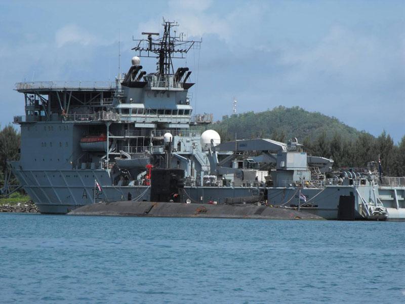 HMS Trenchant alongside RFA Diligence at Mahe Island in the Seychelles