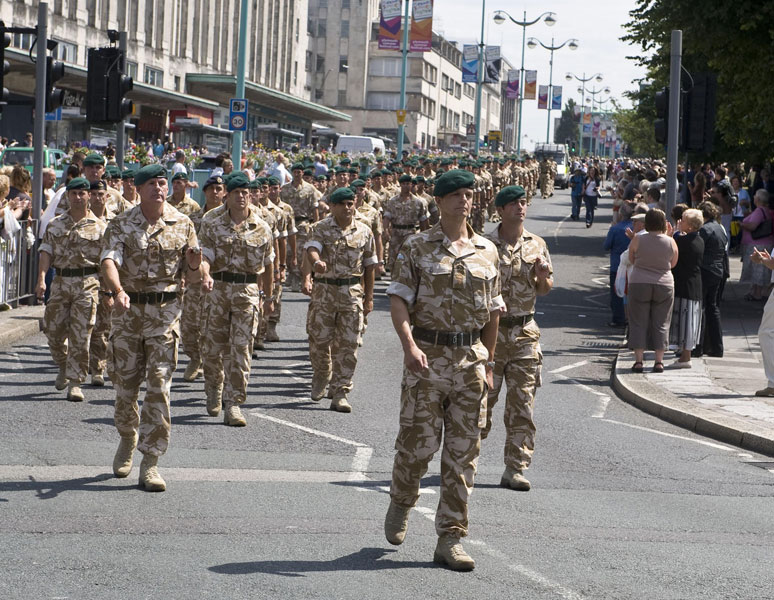 Royal Marines marching through the city of Plymouth