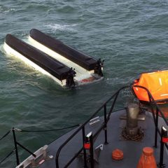 Fishermen saved by HMS Westminster as boat capsizes off Portland