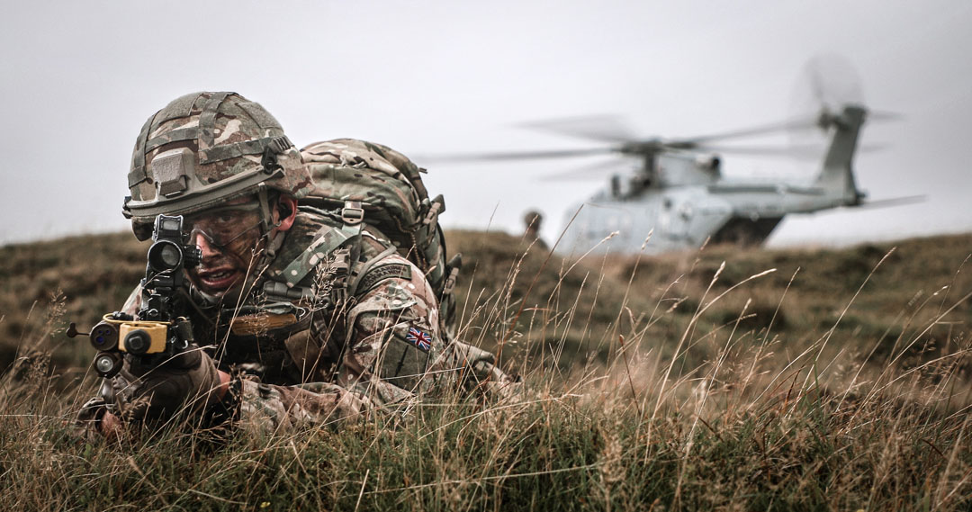 A Royal Marines Commando during an exercise to rescue a stranded pilot