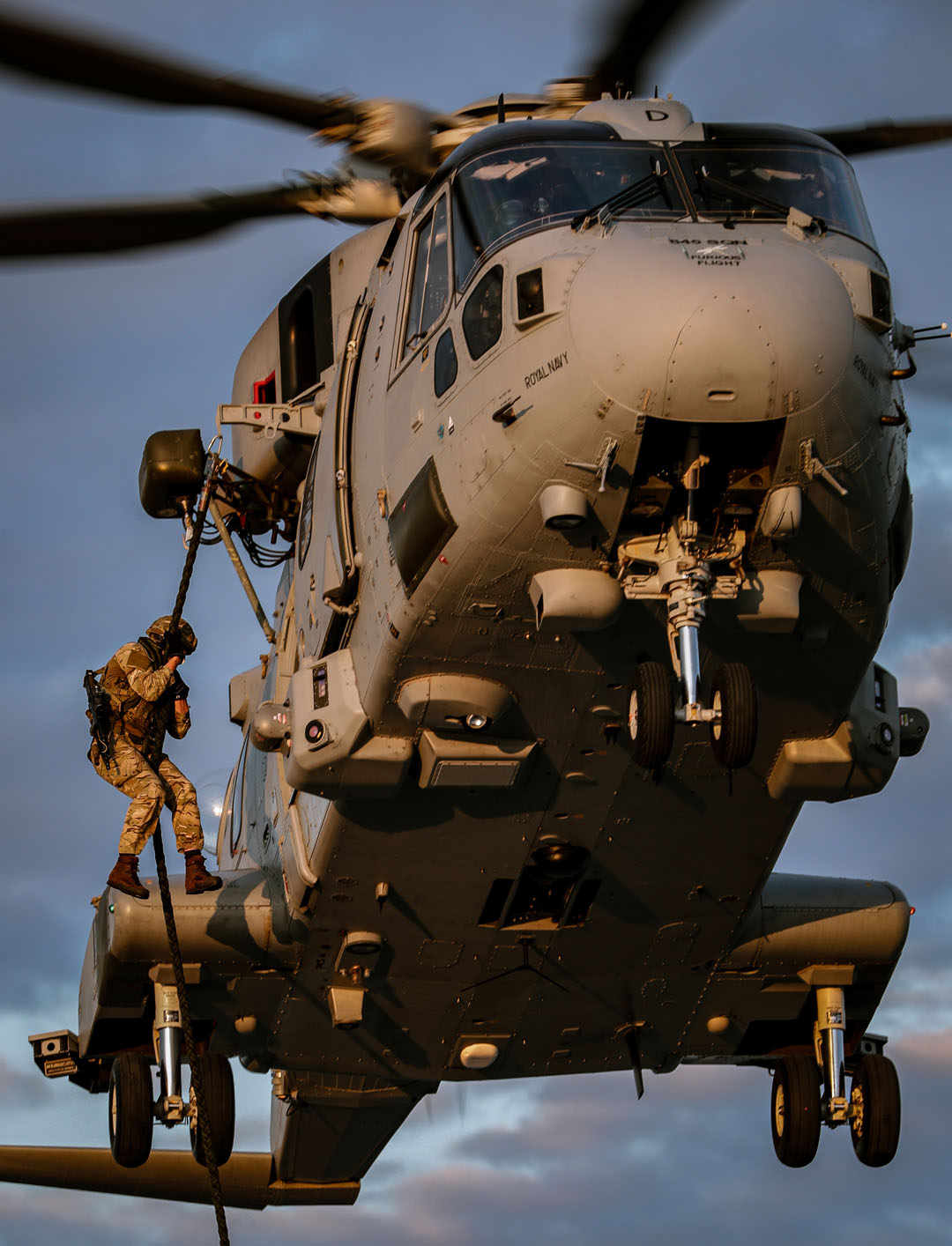 Royal Marines onboard HMS Queen Elizabeth conduct Fast Roping training