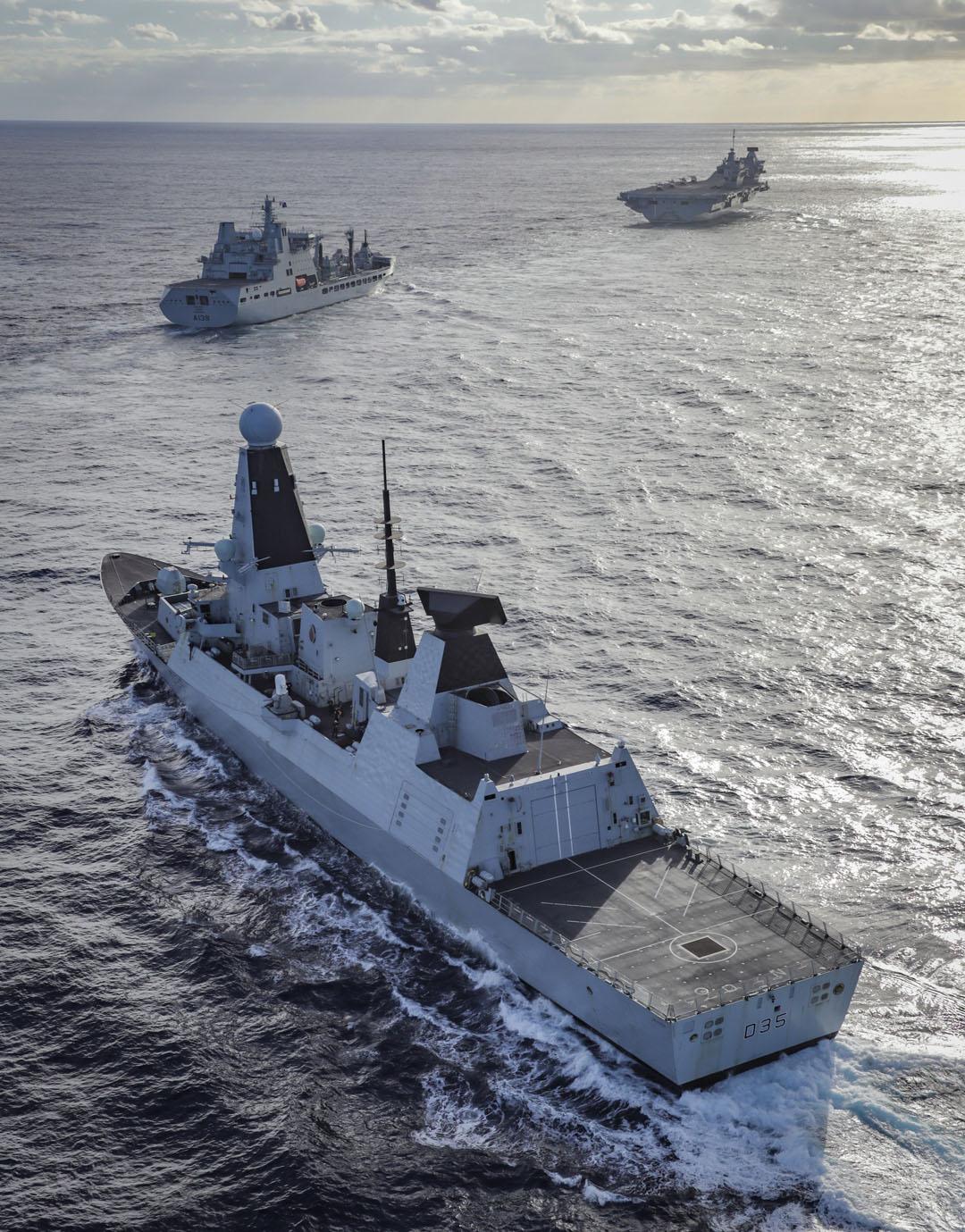 HMS Dragon, RFA Tideforce and HMS Queen Elizabeth sail together